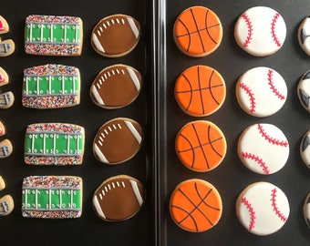 12 superbowl SPORTS theme cookies - SOCCER - tenis - basketball - FOOTBALL - baseball party - teens-touchdown - championship -league gymnast