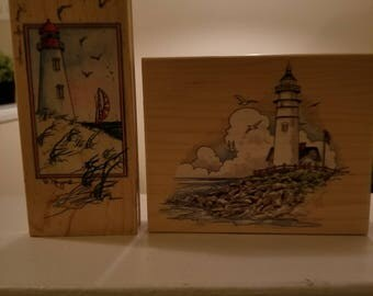 Two Stamps Happen Inc Lighthouse Rubber Stamps Card Making Scrapbooking Craft Stamps