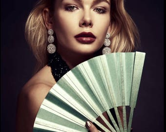 Hand Fan-Gold & Diamond Green-delivery 2-3 business days-SAVE Shipping/FREE Shipping on Second and Third items in this shop