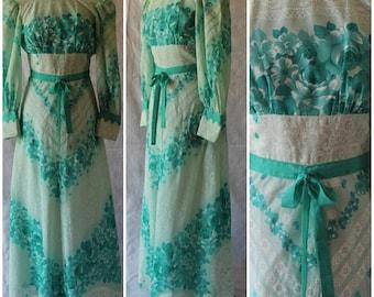 Vintage 1960s Maxi Dress Green Floral Wedding Gown Boho Festival Party Dress 8