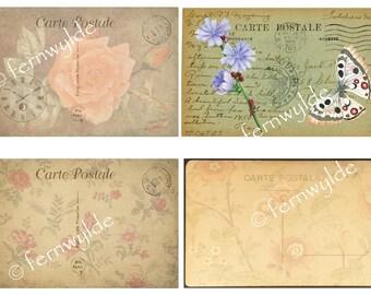 Vintage style floral postcards, 8 postcards, digital download, postcard digital printable