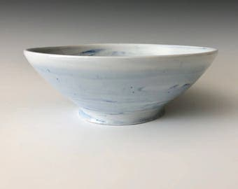 Modern handmade pottery porcelain serving bowl décor handmade wheel thrown blue and white swirl Haight Pottery Company