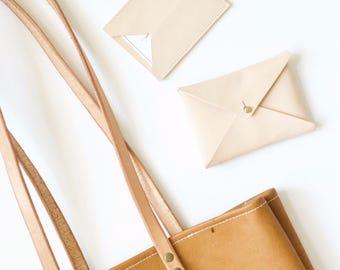 Leather envelope wallet, business card case, card wallet, card holder, envelope clutch