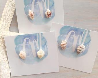 Seashell Stud Earrings - Shell Earrings - Beach Stud Earrings - Mermaid Stud Earrings - Seashell Earrings - Ocean Earrings - Beach Jewelry