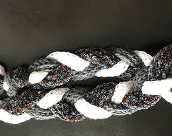 Gray, Blue and White Small Braid Hand Knit Scarf