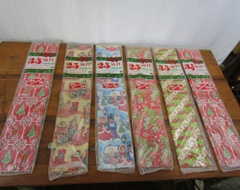 Lot of 6 large packages vintage wrapping paper NIP