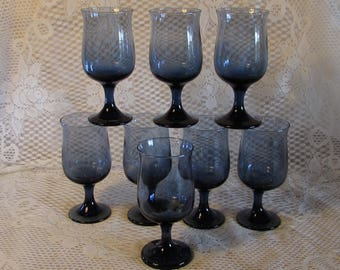Dusky Blue Wine Glasses by Libbey, Set of 8 Smoke Blue Goblets, Stemmed Water Glasses, Replacement Glasses