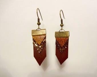 Herringbone in Brown and gold leather earrings
