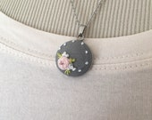 """20"""" grey floral embroidered pendant"""