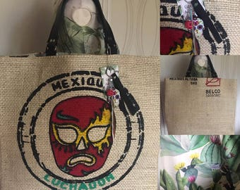 "Large bag in Burlap ""Mexico"""