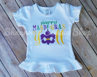 Girls Mardi Gras Shirt - Happy Mardi Gras Y'all - Mardi Gras Shirt - Mardi Gras Applique Shirt - Mardi Gras Parade - Kids Mardi Gras Shirt