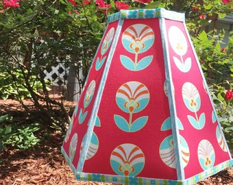 HANDMADE TULIP LAMPSHADE Lamp Shade Using Jeni Baker Color Me Retro Florette Fabric in Ruby Red and Aqua Blue 9 inches Tall 6 Sided Shade