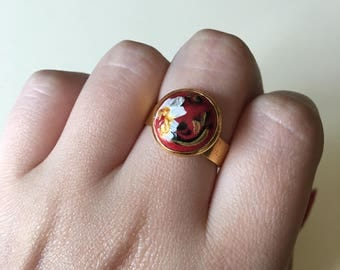 Red Floral Hand-painted Ring