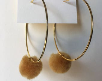 Hoop Earrings with Mustard Yellow Pom Pom Charms