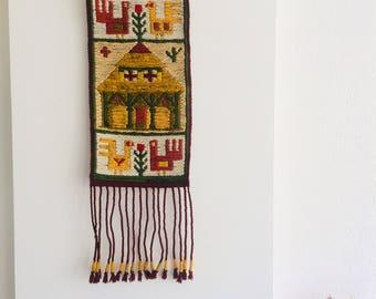 Handgewoven folkloristisch kleed | muurhanger | folklore kunst | wanddecoratie | handwoven |
