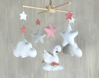 Baby mobile - swan mobile - unicorn mobile - star mobile - interchangeable mobile - baby mobiles - clouds - felt flowers - baby girl