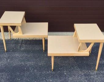 Pair Of Blonde Atomic Wooden Step End Tables Mersman Furniture   1950u0027s MCM