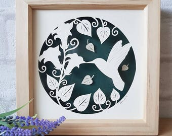Hummingbird papercut, framed papercut, bird picture, home decor, papercutting, paper cut, floating papercut.