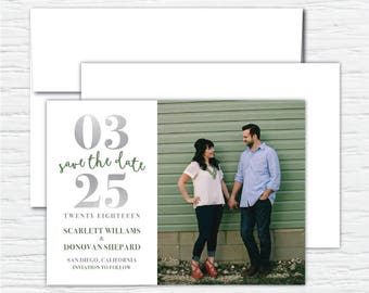 Large Dated, Photo Save the Date, Customizable Digital or Printed Invitation