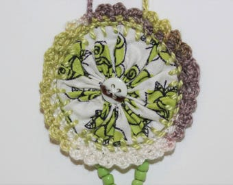 White with lime green roses vintage Suffolk Puff crocheted beaded necklace
