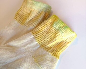 Tie Dye lemonade yellow, short ankle retro Socks, Ready to Ship, Girls Clothing, Teen Kids Women hippie Clothing