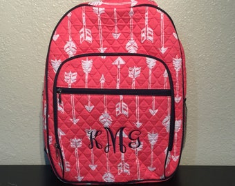 Arrow Print Large Quilted Backpack Great for Back to School or Diaper Bag Coral/Navy