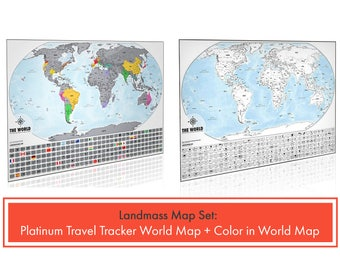 2 Travel Tracker Maps - 1 Platinum Scratch Off World Map & 1 Color In World Map - Perfect Gifts for Travelers - Track Your Travels in Color