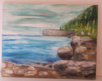 Landscape painting, oil painting on canvas, rocky shore painting on canvas