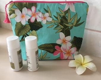 Tropical FLOWER MAKEUP BAG-Pink and Mint Makeup Bag