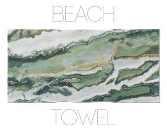 Green Beach Towel, Zebra Jasper Mineral, Abstract Towel, Mineral Photography, Bath Accessory, Swimming Pool Towel