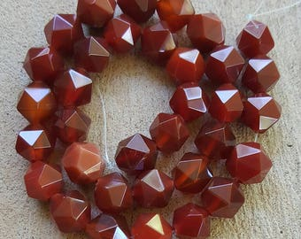 """Natural Red Agate Faceted Beads, 10~12mm  - 14.5~15"""" Strand"""