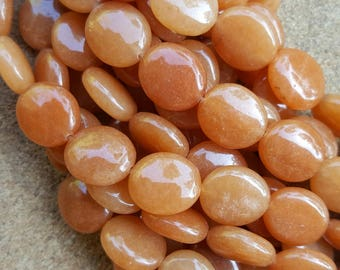 "Natural Red Aventurine Oval Flat Beads, 14x12x5mm - 15.5"" Strand"