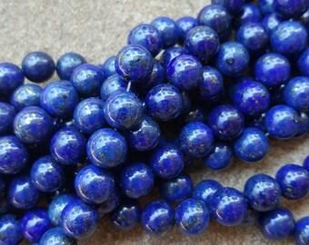 "Grade AA Lapis Lazuli 8mm Round Natural Gemstone Beads, Dyed - 15.5"" Strand"