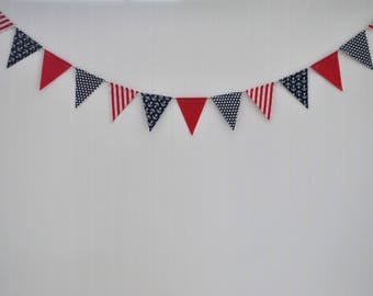 Patriotic Fabric Banner | July 4th Red White & Blue Garland | Red White Blue Flags | Independence Day Banner | Patriotic Bunting