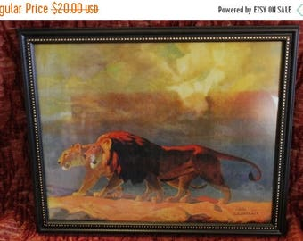 Christmas in July Lion and Lioness Numbered Lithograph by artist D.H. Barrack, #250/500