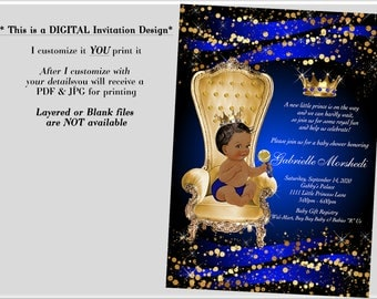 Baby shower invitation, Royal Baby Shower Invitations, Prince Baby Shower Invitations, Blue Baby Shower Invitations, Blue and Gold,