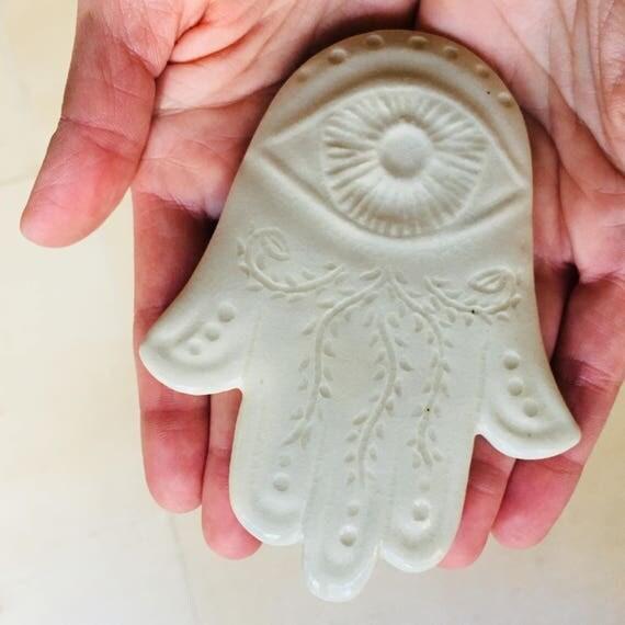 White Hamsa wall hanging, protection amulet, Judaica,