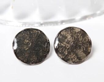 Vintage stud on Earrings, metal with grey enamel