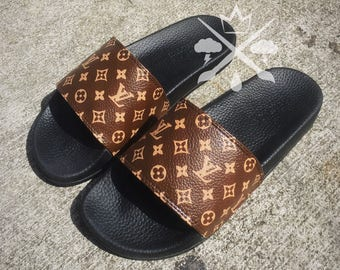 Louis Vuitton Luxury Designer LV Custom Slides Sandals Flip Flops