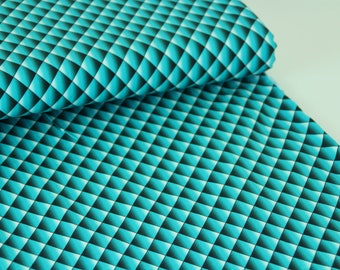 quiltillusion Turquoise - Organic Cotton Jersey - Zicca Fabric UK Seller