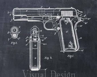 Colt 45 M1911 Pistol Patent Art Print Patent Poster