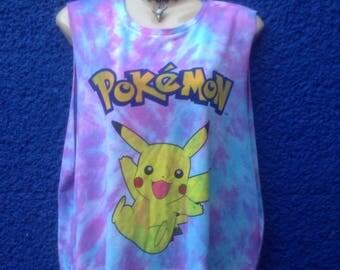 Sassy unique tie dye sideboob pokemon  tshirt urban swag dope festival style