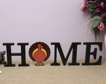 Thanksgiving Turkey Decor, Home Letters, Home Wooden Sign, Interchangeable Letters, Seasonal Fall Decor, Wood Letters, Housewarming Gift