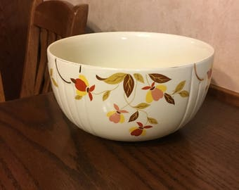 Jewel Tea Autumn Leaf Mixing Bowl Hall's Superior Banana Bowl