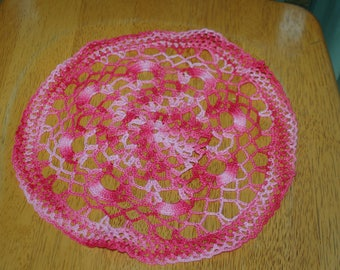 "Hand Crafted DOILY - 11"" Shades of Pink - Light Pink to Dark Rosy Pink Hand Crocheted Doily"