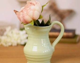 vintage glazed stoneware milk jugs or pitchers, pale green, two sizes available.