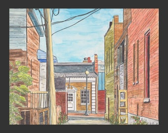 City Alley - a watercolor painting