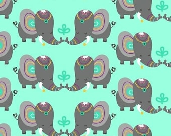 Rumble, Elephant Print, Happy Mint, Windham Fabric 40756-2