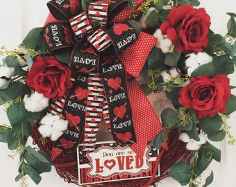 Valentine's Day Wreath for Front Door, Front Door Valentine's Day Wreath, Valentine's Heart Wreath, Farmhouse Valentine's Wreath