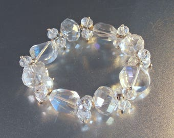 Aurora Borealis Faceted Crystal Stretch Bracelet, 60s High End